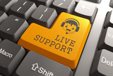 Live Support on Orange Keyboard Button. poster