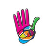 Vector logo scribble colorful hand