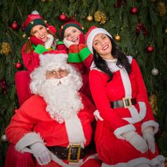 Santa Clause woman smiling elf helper