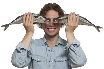 young men covering eyes with Fish Eye