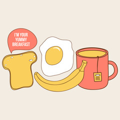 Yummy breakfast illustration