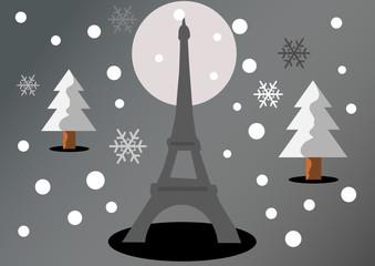 Paris sous la neige (gris)