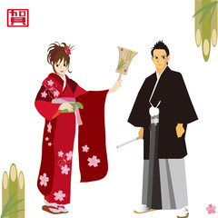 Japanese new year's event. お正月のカップル