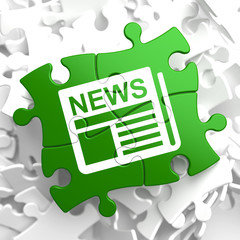 Newspaper Icon with News Word on Green Puzzle.