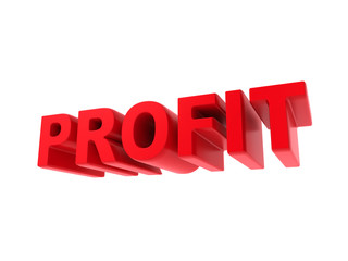 Profit - Red Text Isolated on White.