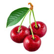 Cherry with drops isolated on white background
