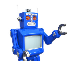 Retro style robot with blank screen for copy space
