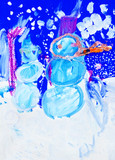 Kid's drawing paints two snowmen