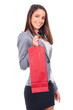 young woman with red shopping bag