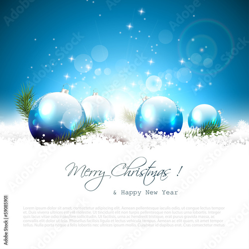 Christmas greeting card with balls and branches in snow
