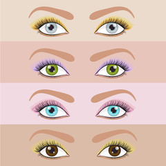 Vector set of eyes make up in different colors