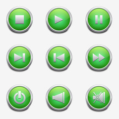 media player icons with green buttons