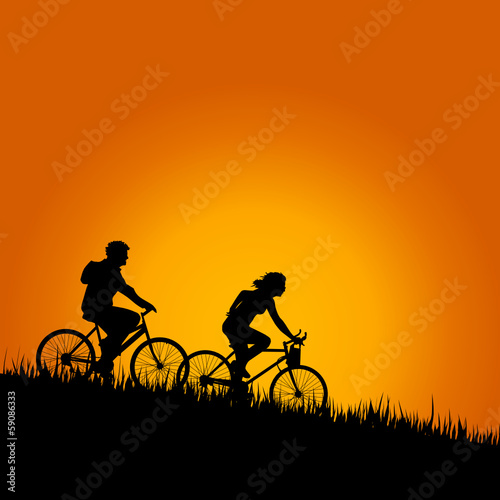 cyclists in nature color vector illustration