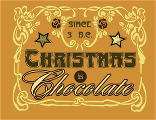 Christmas is Chocolate vintage stylish illustration