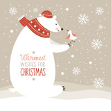Fototapety Christmas illustration, White bear and little birdy