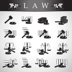 Law Icons Set - Isolated On Gray Background