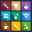 Kitchen flat icons set 23