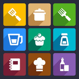 Kitchen flat icons set 24