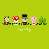 Birthday Ladybug, Fly Agaric, Chimney Sweeper, Pig & Cloverleaf