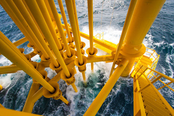 Oil and Gas Producing Slots at Offshore Platform