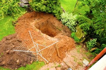 big pit in ground