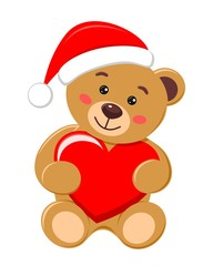 Bear with the hat of Santa Claus holding a red heart