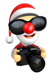 Wear sunglasses 3D Santa character to shoot the Big Camera towar