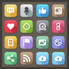 social flat icons with shadow set 2