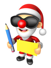 Wear sunglasses 3D Santa Mascot hand is holding a Yellow paper a