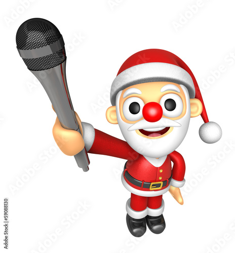 3D Santa character is holding a microphone. 3D Christmas Charact