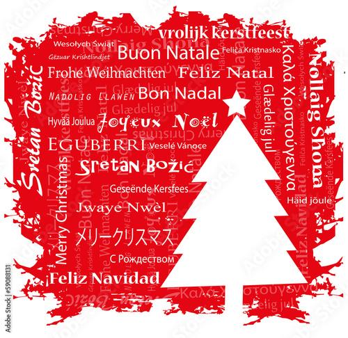 cartolina di natale con auguri in varie lingue