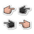Pixel cursor poiting hands vector icons