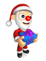3D Santa mascot the hand is holding a Blue Big Gift Box. 3D Chri