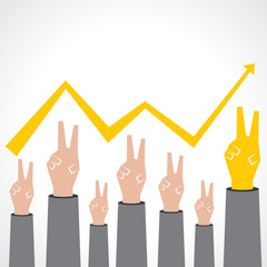 Victory hand make a business graph stock vector