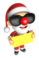 Wear sunglasses 3D Santa Mascot holding a big board with both Ye