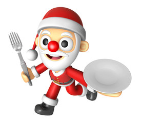 3D Santa Mascot hand is holding a Fork and Plate. 3D Christmas C