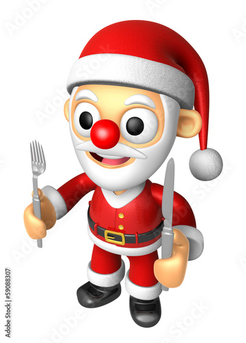 3D Santa Mascot hand is holding a Fork and Knife. 3D Christmas C