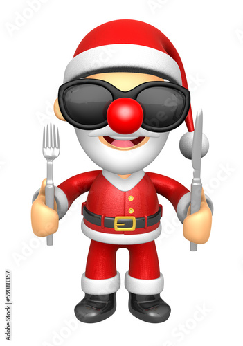 Wear sunglasses 3D Santa Mascot hand is holding a Fork and Knife