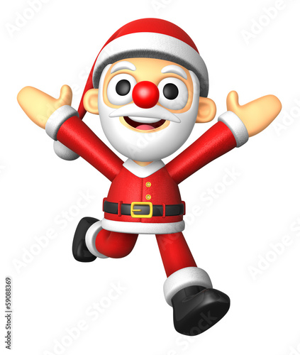 3D Santa character on powerfull Running. 3D Christmas Character