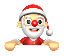 3D Santa Mascot holding a big board with both hands. 3D Christma