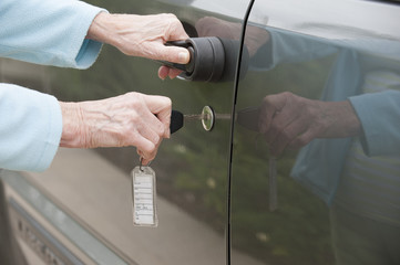 Using a key to unlock car door