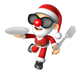 Wear sunglasses 3D Santa Mascot hand is holding a Fork and Plate