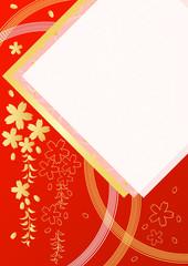 枝垂れ桜漆朱赤と和紙風