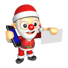 3D Santa Mascot hand is holding a Smart Phone and business cards