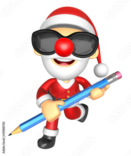 Wear sunglasses 3D Santa Mascot holding a big board with both Pe