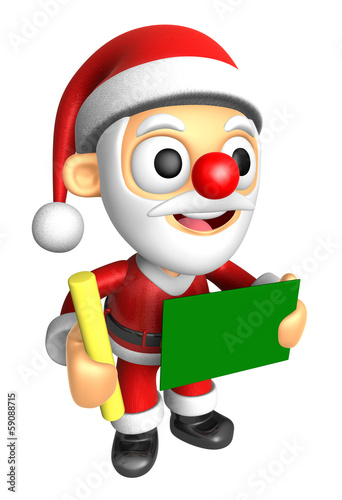 3D Santa Mascot hand is holding a Chalk and Chalkboard. 3D Chris