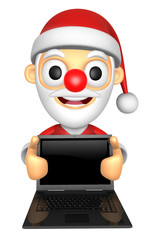 3D Santa Mascot holding a big board with both Laptop. 3D Christm