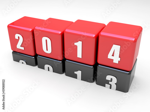 New year 2014 is here. Red cubes over black cubes