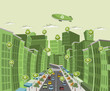 green city with speech balloon with recycle icon