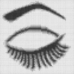 Eye closed with halftone effect